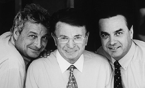 Jacques Courtin-Clarins with his sons Christian and Olivier.
